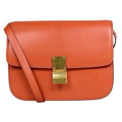 Celine Cinnamon Leather Medium Box Bag W/ Strap rt. $4,350