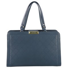 Chanel Label Click Shopping Tote Quilted Calfskin Large
