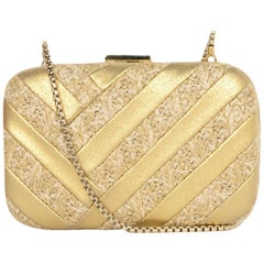 Henri Bendel Gold Leather Chevron Pattern Evening Bag W/ Chain