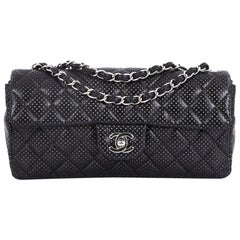 Chanel Classic Single Flap Bag Quilted Perforated Leather East West