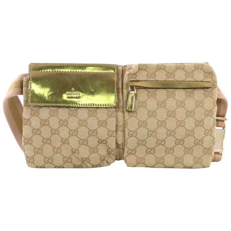 a6507abc8914 Gucci Vintage Double Belt Bag GG Canvas at 1stdibs