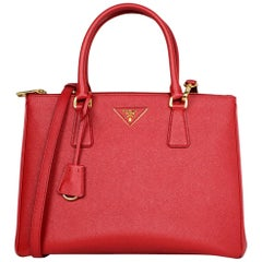 Prada Red Saffiano Leather Medium Galleria Double Zip Tote W/ Strap