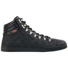 """GUCCI """"Guccissima"""" Black Leather Monogram Lace Up High Top Sneakers"""