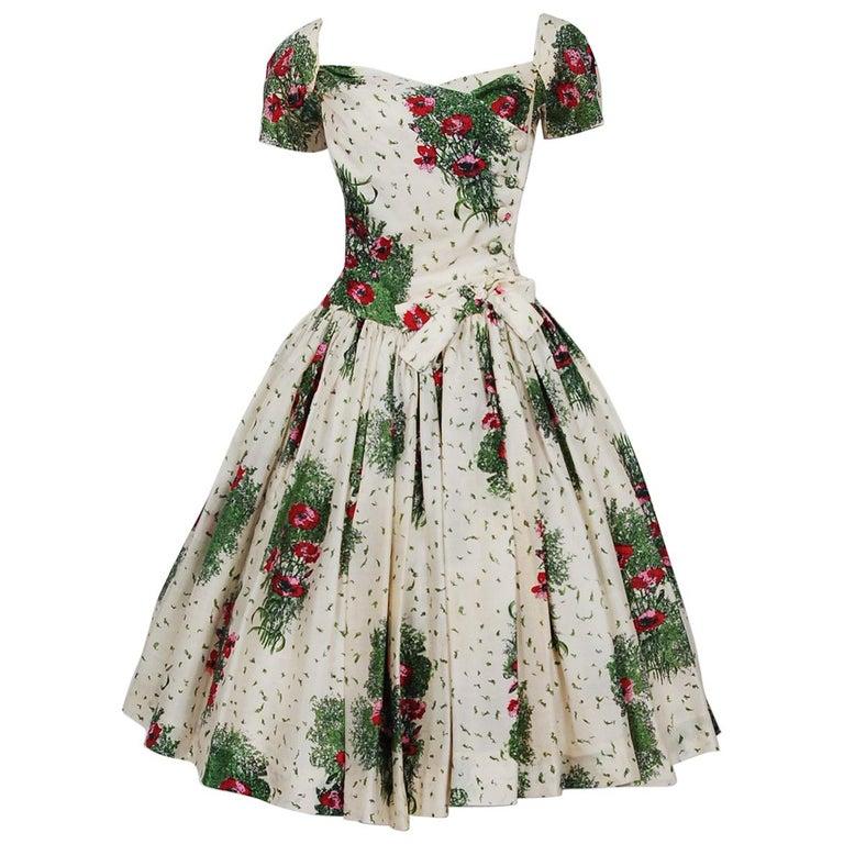 60ad03d0e31 1950 s Gigi Young Floral Garden Print Silk Sweetheart Plunge Circle-Skirt  Dress For Sale. Stunning 1950 s Gigi Young designer ...