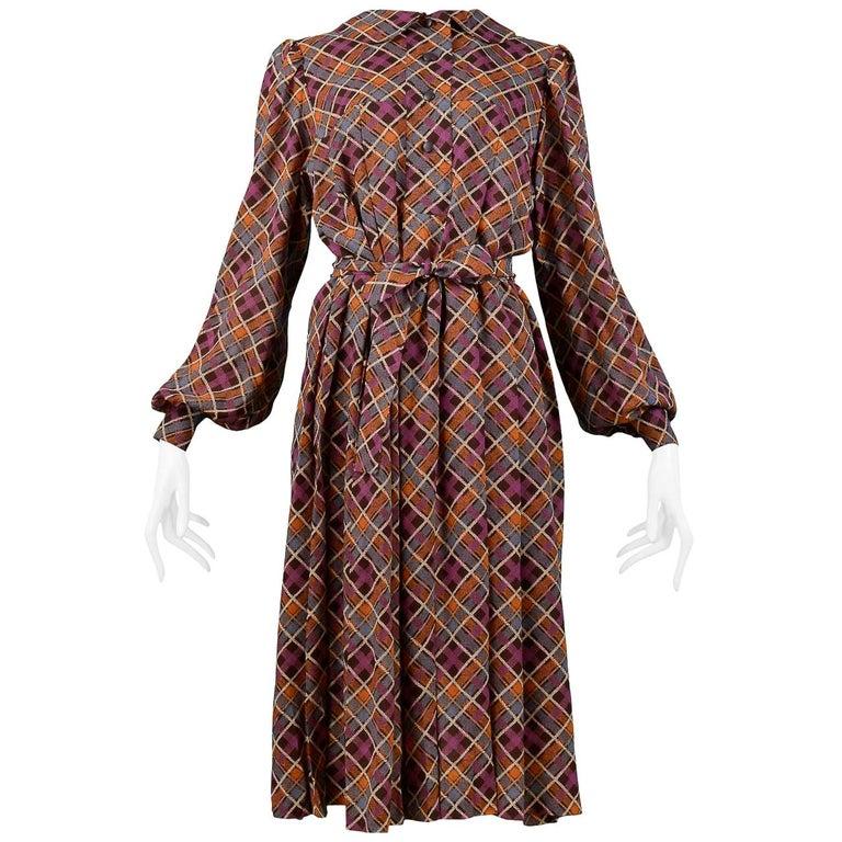 e7d6b3ff4d2 Vintage Yves Saint Laurent Classic Brown Plaid Pleated Dress For Sale