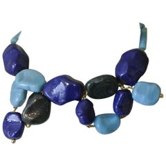 Gripoix for YSL Yves Saint Laurent blue large abstract pendant necklace