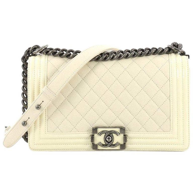 b1e9bae3b203 Chanel Boy Flap Bag Quilted Goatskin with Patent Old Medium For Sale ...