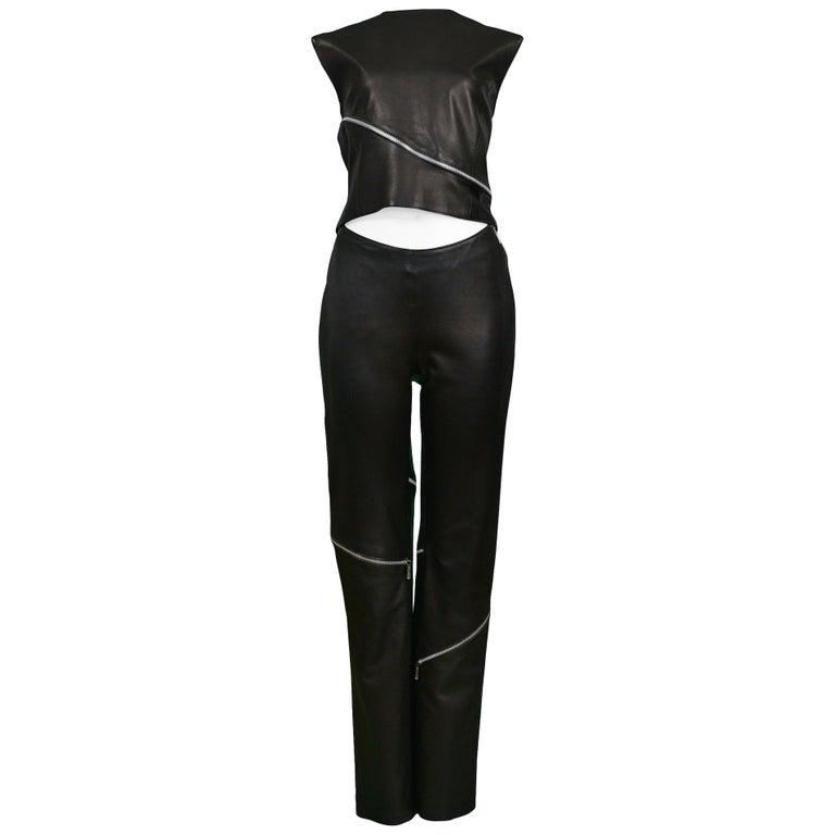 c71a954803c3e Vintage Versace Leather Zipper Pant Set For Sale at 1stdibs