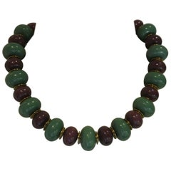 Vintage YSL Yves Saint Laurent lucite purple green beaded necklace