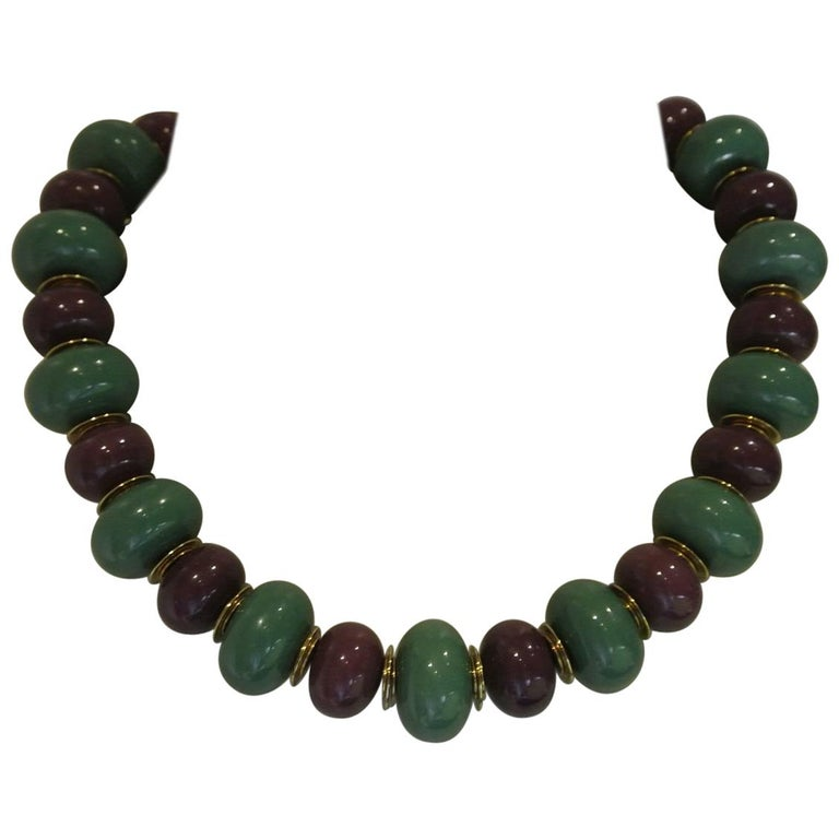 4675cecffb9 Vintage YSL Yves Saint Laurent lucite purple green beaded necklace For Sale