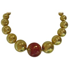 Vintage YSL Yves Saint Laurent Rive Gauche  Red beaded necklace