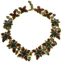 Gripoix for YSL Yves Saint Laurent blue/red flower necklace