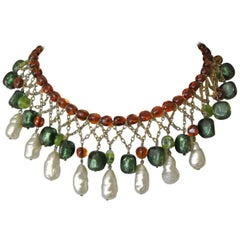 Gripoix unsigned green amber poured glass drop faux pearl bib necklace