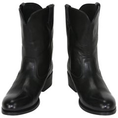 New Tom Ford Men's Black Leather Western Cowboy Boots 8 and 8.5