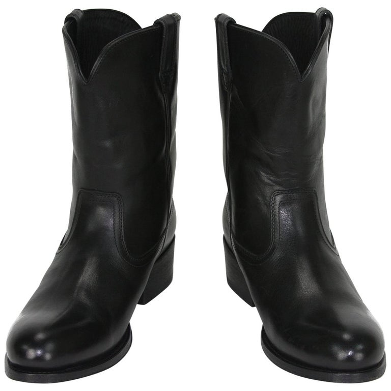 aliexpress hot-selling brand quality New Tom Ford Men's Black Leather Western Cowboy Boots 8 and 8.5