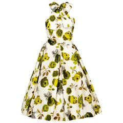 1950's Suzy Perette Chartreuse Roses Floral-Print Silk Backless Halter-Bow Dress