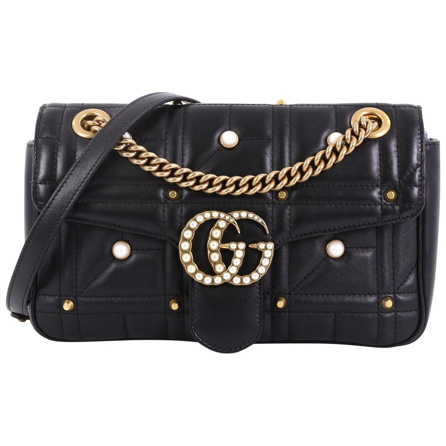 9b3ca90060b Gucci Pearly GG Marmont Flap Bag Embellished Matelasse Leather Small For  Sale at 1stdibs