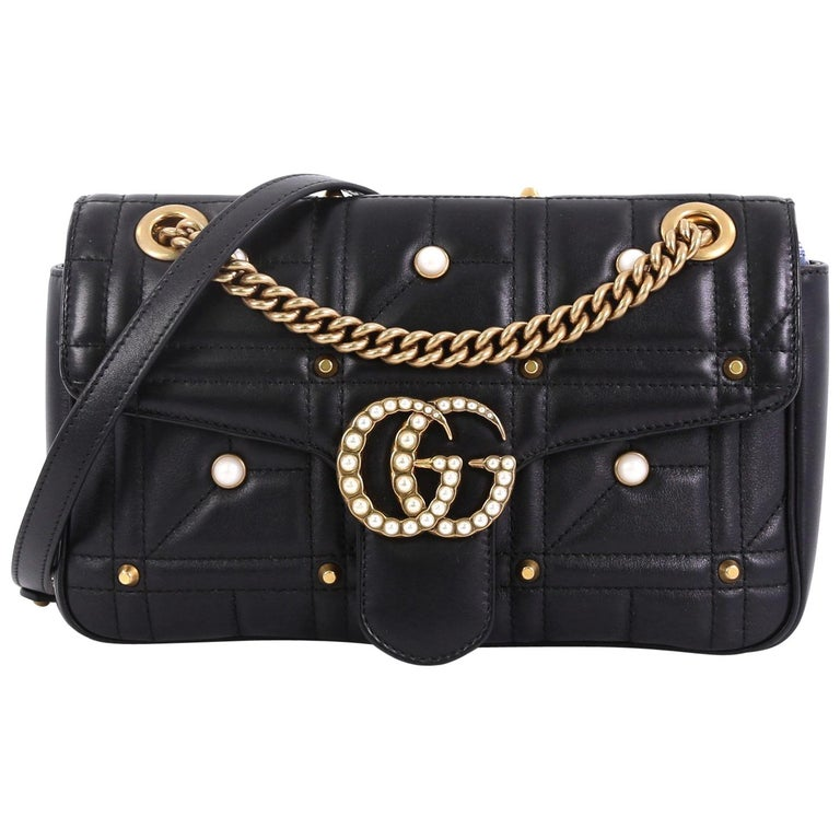 dc311b3fe7ec Gucci Pearly GG Marmont Flap Bag Embellished Matelasse Leather Small For  Sale