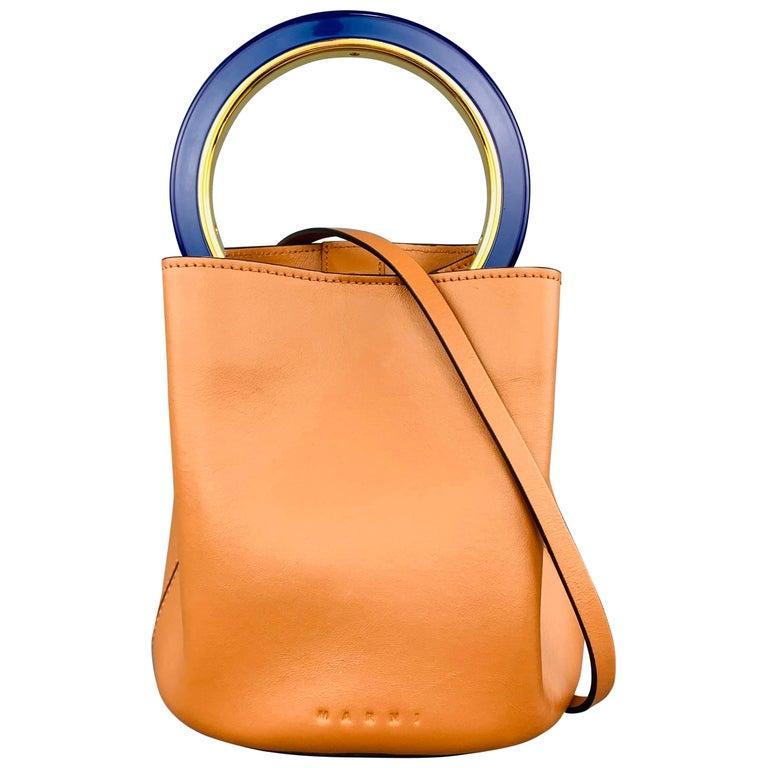 MARNI Tan Leather Blue Enamel Handle Mini PANNIER Bucket Handbag For Sale