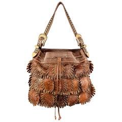 KIPPYS Brown Embossed Leather Rhinestones Western Handbag
