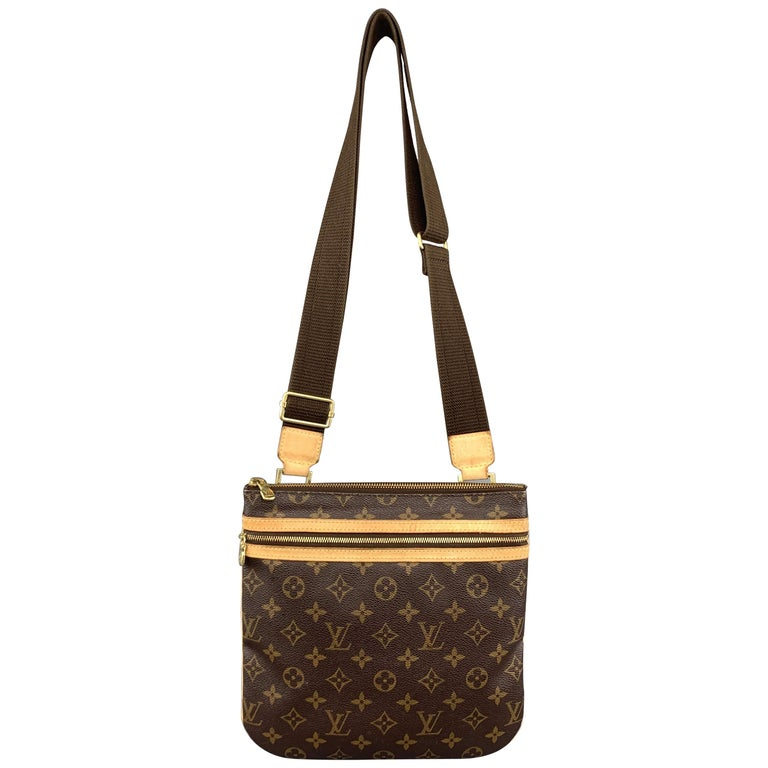 b22d904a454d LOUIS VUITTON Brown Monogram Pochette Bosphore Coated Canvas Crossbody Bag  For Sale