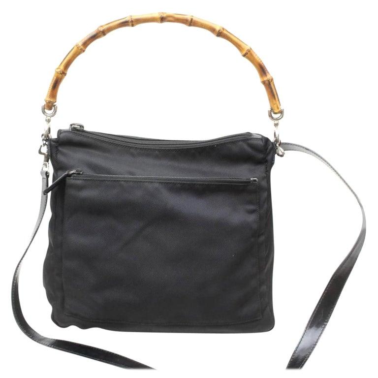 f56c66f97db0 Gucci Bamboo Hobo 869311 Black Nylon Shoulder Bag For Sale at 1stdibs