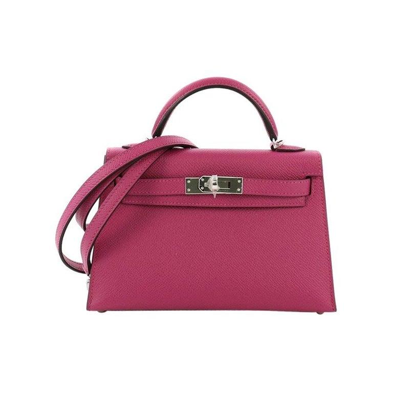 43a239ac59d5 Hermes Kelly Mini II Handbag Rose Pourpre Epsom with Palladium Hardware 20  For Sale