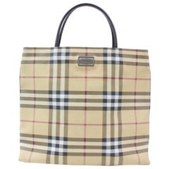 Burberry Nova Check 869055 Beige Coated Canvas Tote