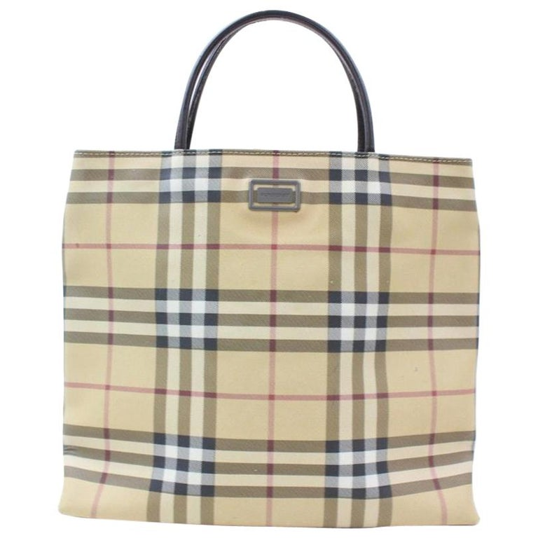 9a3bf938cc4d Burberry Nova Check 869055 Beige Coated Canvas Tote For Sale at 1stdibs