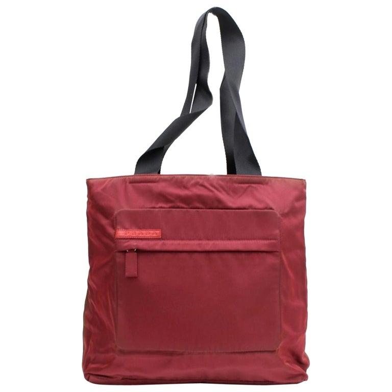 e2e8779075b4 Prada Dark Tessuto Sports 868069 Red Nylon Tote For Sale at 1stdibs