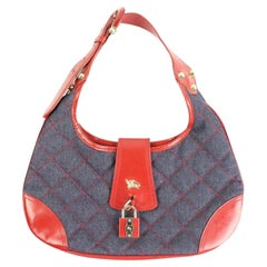 Burberry Quilted Denim Hobo 21bur817 Blue X Red Patent Leather Shoulder Bag