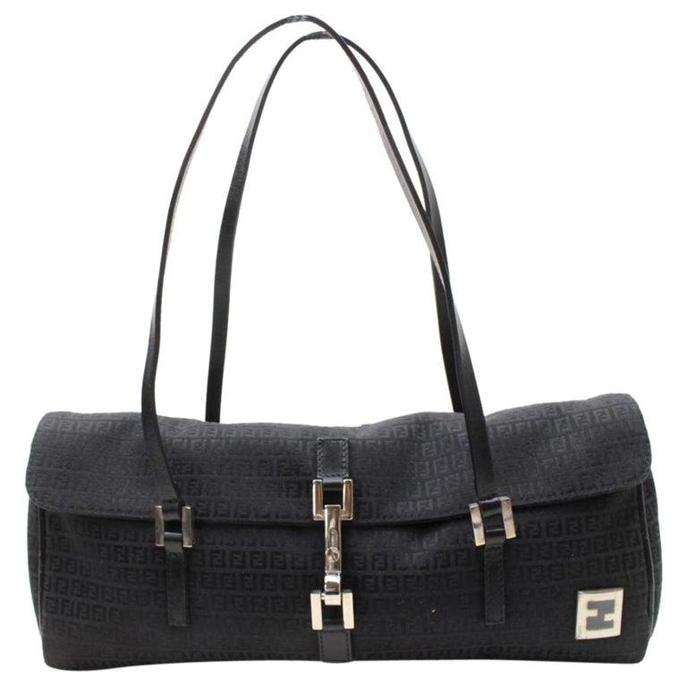 be097d7d9d3f Fendi Monogram Ff Round Boston 868804 Black Canvas Shoulder Bag For Sale