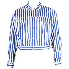 Jean Paul Gaultier Men's Vintage White & Blue Striped Denim Jacket, 1980s