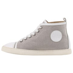 """HERMES Canvas """"Ex Libris"""" Jimmy Escutcheon Lace Up High Top Sneaker Shoes"""