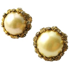 Classic large pearl, gilt and paste earrings, Chanel, France, 1950s