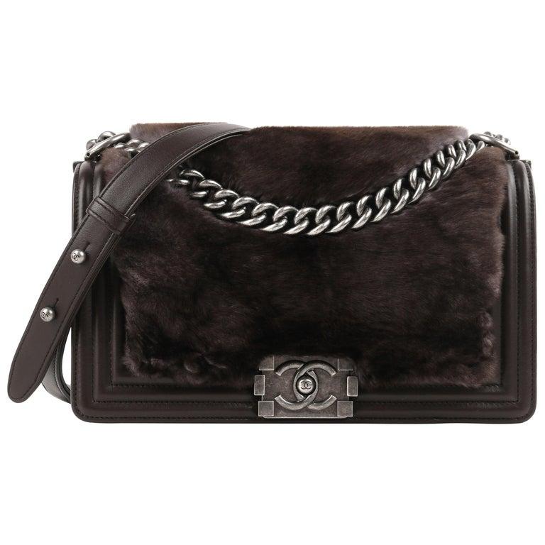 "CHANEL ""Medium Boy"" Brown Leather Sheared Rabbit Fur Flap Bag Cross Body Handbag For Sale"