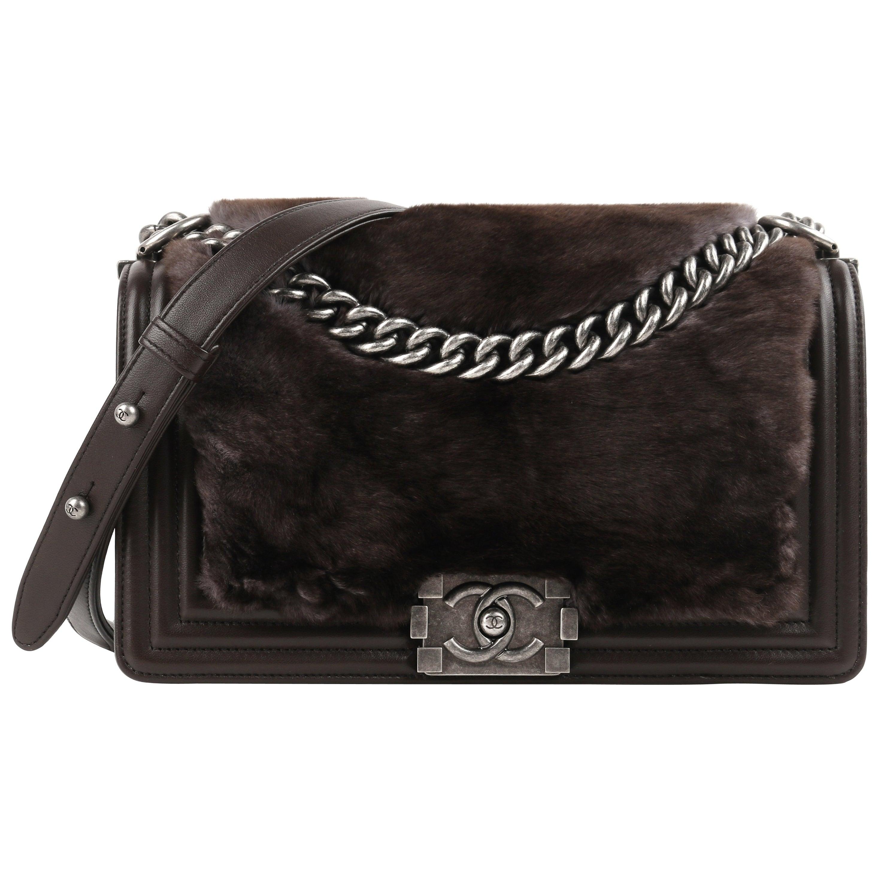 "CHANEL ""Medium Boy"" Brown Leather Sheared Rabbit Fur Flap Bag Cross Body Handbag"