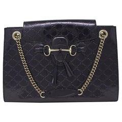 Gucci Guccissima Large Deep Plum Emily Monogram Fringe Thick Chain Handbag