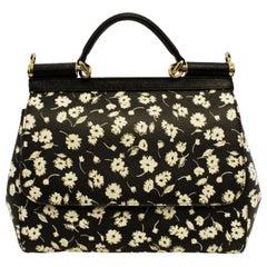 Dolce & Gabbana Sicily Black & Ivory Flap Top Handle