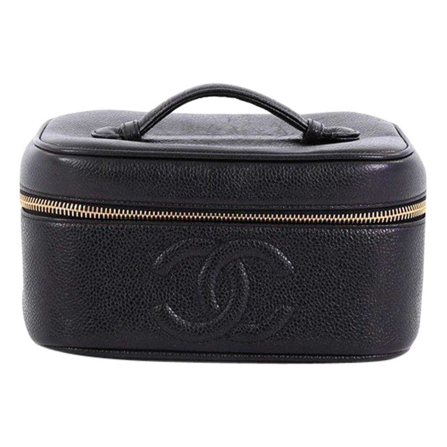 aa46b574fb7fe6 Chanel Vintage Timeless Cosmetic Case Caviar at 1stdibs