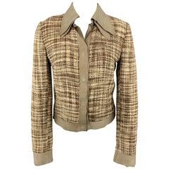 DOLCE & GABBANA Size 8 Beige & Brown Woven Silk Leather Trim Jacket