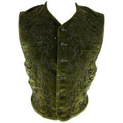RALPH LAUREN Size 6 Olive & Black Beaded Silk Blend Velvet Vest