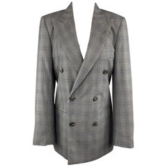 MAISON MARGIELA Size 4 Grey Plaid Wool Double Breasted Stitch Back Sport Coat