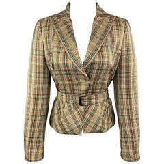 AKRIS Size 8 Gold & Green Plaid Silk Cropped Belted Blazer