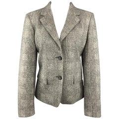 MAX MARA Size 10 Grey Glenplaid Virgin Wool Cashmere Blazer