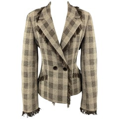 ARMANI COLLEZIONI Size 8 Taupe & Brown Plaid Fringe Trim Jacket