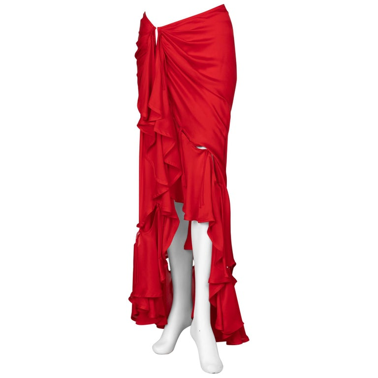 Yves Saint Laurent Red Silk Flamenco Skirt YSL, Runway 2003 For Sale