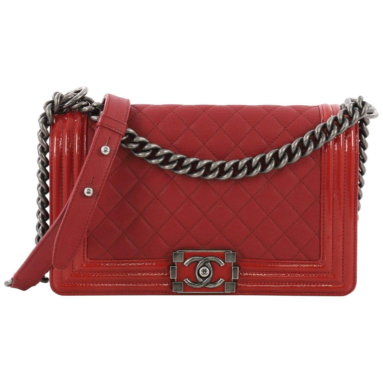 e46f3c276d328d Chanel Boy Flap Bag Quilted Goatskin with Patent Old Medium For Sale ...