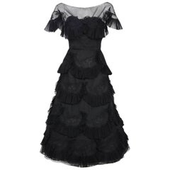 1950's Harvey Berin Black Chiffon Lace Pleated Scallops Strapless Capelet Dress