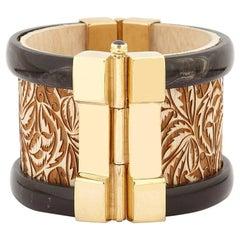 Fouché Art Deco Cuff Bracelet Gold Horn Sapphire